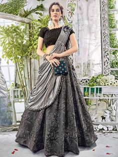 Gracious Grey and Black Art Silk Festival Wear Designer Lehenga.  #Ethnicwear #mydesiwear #PartyWearDesignerLehenga   #OnlineShopping #LehengaCholi #CollectionofWeddingLehengaCholi #WeddingLehengaDesigns #DesignerLehengaCholi #BridalWeddingLehengas #OurLatestWeddingDressCollections #BridalWear