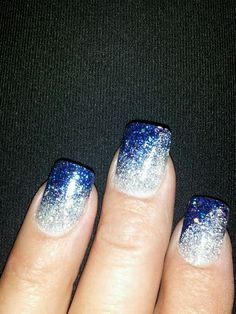 Blue and silver sparkle nails would be super pretty for wedding nails too