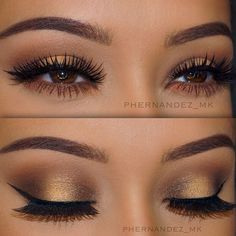 Perfect eye makeup for brown eyes! So exotic! Eyebrow Makeup Tips Flawless Makeup, Gorgeous Makeup, Pretty Makeup, Love Makeup, Makeup Inspo, Makeup Inspiration, Simple Prom Makeup, Prom Makeup For Brown Eyes, Gold Makeup Looks