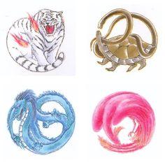 Tags: Anime, Dragon, Tiger, Fushigi Yuugi, White Tiger, God, Turtle