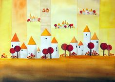 Yellow Village,  Watercolor, ©Michael Basler