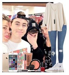 """""""Matthew Espinosa, Nash Grier, Shawn Mendes & Cameron Dallas"""" by assia-mouaqk ❤ liked on Polyvore featuring Topshop, OPI, EAST, Converse, Karen Kane and LORAC"""