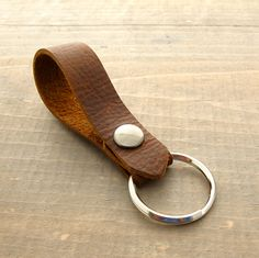 Rustic Leather Key Ring Men's Leather Goods Handmade Men's Key Fob Snapping Key Ring Leather Belt Loop Keychain Men's 3rd Anniversary Gift by AnchorRoad on Etsy https://www.etsy.com/listing/225113541/rustic-leather-key-ring-mens-leather