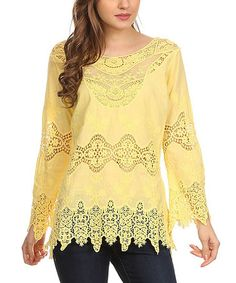 Look what I found on #zulily! Yellow Scalloped Lace Scoop Neck Top #zulilyfinds