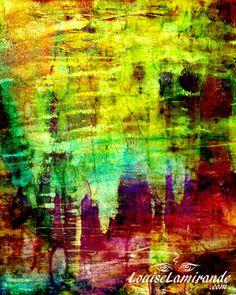 """""""La grotte aux fées"""" Peinture hybride, fusion numérique de peintures à l'encre et à l'acrylique. Avril 2015.  © 2015, Louise Lamirande. http://louiselamirande.com/contraste-des-couleurs-et-des-textures/ (""""Fairies' Grotto) Digital hybrid painting created from original mixed media paintings and pure digital effects http://en.louiselamirande.com/project/la-grotte-aux-fees-the-fairies-grotto/"""