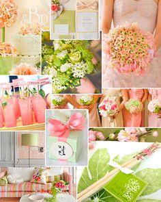 Decoração verde rosa