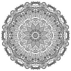 Black lace circle on white background. Ornamental round
