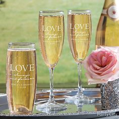 Personalized champagne flutes your guests can take home