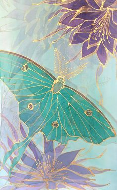 Floral Summer Scarf, Mint Chiffon Scarf, Handpainted Scarf, Mint Green Luna Moth with Purple and Gold Princess of the Night, Made to order Cute Wallpapers, Wallpaper Backgrounds, Colorful Backgrounds, Silk Art, Fabric Painting, Flower Art, Watercolor Paintings, Hand Painted, Painted Silk