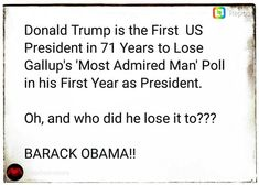 Luv it!! Donald dump isn't worthy to lick President Obama's shoes. He is so jealous of Obama and his 2 terms as president he can't stand it . Fuck Trump . Never my president.