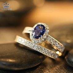 Wedding Ring Set Sapphire Engagement Ring Diamond Wedding Ring White Gold Bridal Set Oval Sapphire Ring (Ready to Ship Size Gothic Engagement Ring, Engagement Ring Settings, Pretty Rings, Beautiful Rings, Diamond Wedding Rings, Diamond Engagement Rings, Sapphire Wedding Sets, Blue Wedding, Trendy Wedding