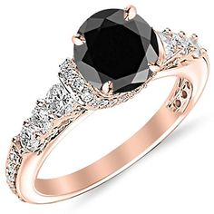 2.85 Carat Designer Four Prong Round Diamond Engagement Ring 14K Rose Gold with a 2 Carat Round Cut AAA Quality Black Diamond (Heirloom Quality)