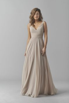 Shop Watters Bridesmaid Dress - in Crinkle Chiffon at Weddington Way. Find the perfect made-to-order bridesmaid dresses for your bridal party in your favorite color, style and fabric at Weddington Way. Beige Bridesmaids, Wedding Bridesmaid Dresses, Wedding Attire, Wedding Gowns, Beige Wedding Dress, Gray Bridesmaid Dresses Long, Bridesmaid Outfit, Wedding Ceremony, Long Dresses