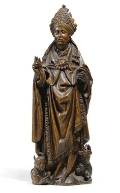 Lot | Sotheby's. SOUTH NETHERLANDISH, PROBABLY BRUSSELS, CIRCA 1500 ST AMBROSE oak 35cm., 13 3/4 in.