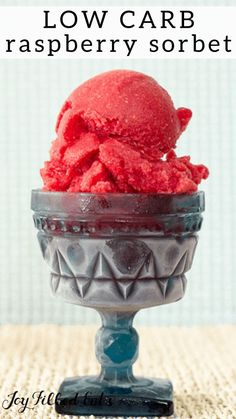 Raspberry Iced Tea Sorbet - Low Carb, Keto Friendly, Sugar-Free, THM FP - this is a refreshing summer treat. My sorbet uses unsweetened iced tea as the base, with frozen raspberries, giving it a beautiful color and flavor. #lowcarb #lowcarbrecipes #lowcarbdiet #keto #ketorecipes #ketodiet #thm #trimhealthymama #glutenfree #grainfree #glutenfreerecipes #recipes #desserts #dessertrecipes #ketodessert #lowcarbdessert #sugarfree #dairyfree