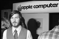 Steve Jobs doing his best to sell the Apple II computer at San Francisco's West Coast Computer Faire in 1977.