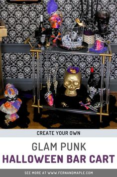 Create your own glam punk inspired bar cart for a fun addition to a Halloween party or themed wedding! Get all the DIY decor tips at fernandmaple.com!