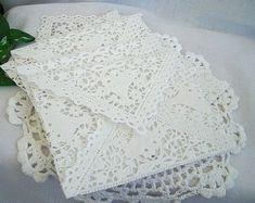Items similar to Vintage Inspired Doily Paper Lace Envelopes, Handmade, White, Shabby Chic Wedding Liners, A2 Size 100 Piece Set on Etsy