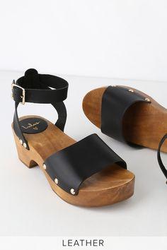 3151f6de7c Lulus   Willy Black Leather Open-Toe Clog Sandal Heels   Size 8.5  Birkenstock Milano