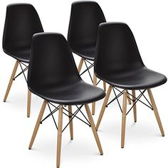Giantex Set of 4 Mid Century Modern Style DSW Dining Chair Side Wood Assembled Legs for Kitchen, Dining, Bedroom, Living Room (Black) Windsor Dining Chairs, Black Dining Chairs, Leather Dining Room Chairs, Mid Century Dining Chairs, Mid Century Chair, Dining Chair Set, Modern Chairs, Side Chairs, Leather Chairs