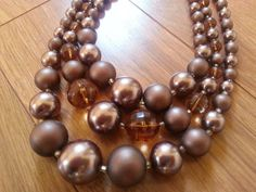 Chocolate Brown Faux Pearl Mid Century Necklace by FlairforVintage, $15.00