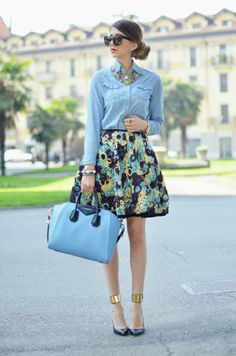 Floral skirt, chambray shirt, statement necklace
