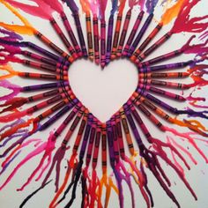 I havent seen the heart idea before!! Love this!! Doing this with H on Xmas break! Hair dryer + crayon heart= cute idea