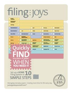 """a home filing system that """"puts paper in its place"""" so you can always find things!"""