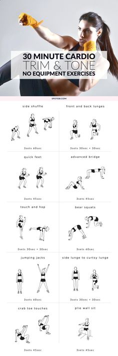 Work your legs, hips and glutes with these lower body and cardio exercises. A 30 minute workout, perfect for burning a ton of calories in a short period of time. www.spotebi.com/...