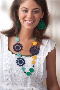 These are the perfect crochet motifs for jewelry.  Island Necklace and Earrings by Robyn Chachula