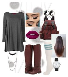 """""""easygoing"""" by anamaria-arroyodd on Polyvore featuring moda, Komar, Frye, Burberry, Lime Crime y Elwood"""