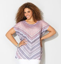 Find soft, lightweight tops for summer in plus sizes 14-32 like the Mitered Hatchi Top available online at avenue.com. Avenue Store