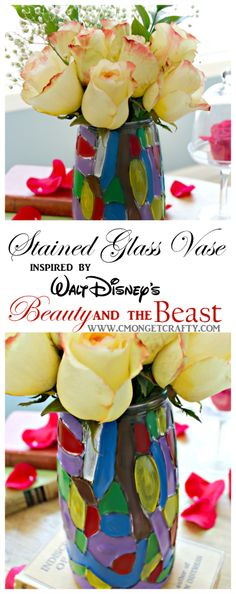 DIY Stained Glass Vase {Inspired by Beauty and the Beast} – C'mon Get Crafty When I found this vase at the thrift store, I knew it needed to become a stained glass vase in honor of Beauty and the Beast! Upcycled Crafts, Diy Crafts, Fun Crafts To Do, Thrift Store Crafts, Pinterest Diy, Craft Activities For Kids, Craft Ideas, Cool Diy Projects, Beauty And The Beast