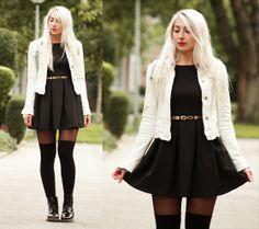 black dress,  leggings, white coat