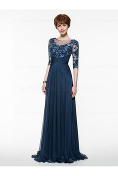 Half Sleeves Illusion Neckline Lace Appliques Chiffon Mother of The Bride Dresses 99605005 Half Sleeve Wedding Dress, Half Sleeve Dresses, Mob Dresses, Fall Dresses, Bridesmaid Dresses, Dresses With Sleeves, Half Sleeves, Pageant Dresses, Mother Of The Bride Dresses Long