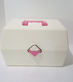 Caboodles-Nail-Care-Cosmetic-Organizer-Makeup-Case-White-Pink-2700-Vintage-1980s