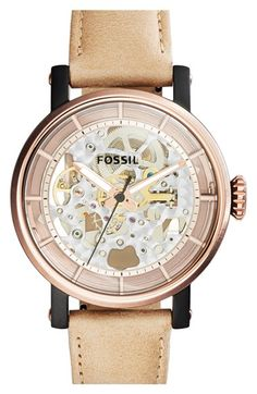 Fossil 'Original Boyfriend' Skeleton Dial Leather Strap Watch, 38mm available at #Nordstrom