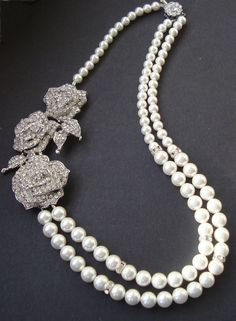Rose Bridal Necklace Statement Wedding Jewelry Pearl by luxedeluxe, $118.00