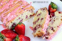 Strawberry Pound Cake with Strawberry Glaze--I decreased sugar to cup, used 1 stick butter + cup nonfat greek yogurt, cup whole wheat flour, cup flax seed, & cup white flour. A little healthier & still super delish! Great Desserts, Delicious Desserts, Dessert Recipes, Yummy Food, Yummy Treats, Sweet Treats, Glaze For Cake, Pound Cake With Strawberries, Strawberry Glaze