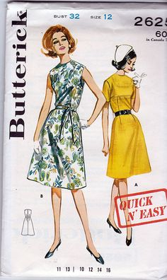 Butterick 2625; ca. 1963; Junior & Miss Quick & Easy Dress; Size 12, B32 - MINT - New Vintage Studio