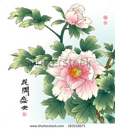 """BB Title: """"Chinese Peony Painting."""" Description: """"This traditional style Chinese ink painting of flowers and leaves is highlighted against a light blue background."""" - Vector / Main Cat - World / Sub - Asiana / Room Type - home office / living room / bedroom / bathroom / Retail Shops / health practices / waiting rooms / Lobbies"""