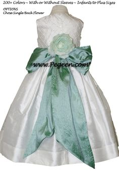GREEN-BLUE AND ANTIQUE WHITE CUSTOM Flower Girl Dresses by Pegeen.com with pin tuck silk bodice