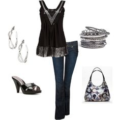 Date Night, created by lislyn on Polyvore featuring the Stella & Dot - Odette Hoops If you want to buy or even earn this for *free*, contact me!  http://www.stelladot.com/denikaclay