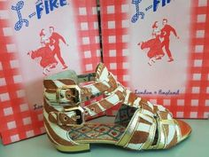 Open toe real hide Miss L Fire sandals. Cute strawberry and cherry inner print with gold buckles.