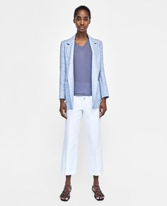 Shop Women's Zara Blue size S Blazers at a discounted price at Poshmark. Description: Long sleeve blazer with a notched lapel collar. Blazer Suit, Suit Jacket, Zara Outfit, Zara United States, Zara Women, Blazers For Women, Get Dressed, Everyday Fashion, Blue And White