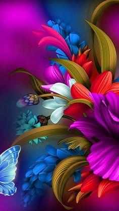 50 New ideas for flower art wallpaper backgrounds Flower Phone Wallpaper, Butterfly Wallpaper, Cellphone Wallpaper, Colorful Wallpaper, Purple Wallpaper, Animal Wallpaper, Wallpaper Samsung, Beautiful Flowers Wallpapers, Beautiful Nature Wallpaper