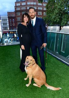 Tom Hardy with Charlotte Riley and their dog Woody. Legend premiere, London, Sept 2015