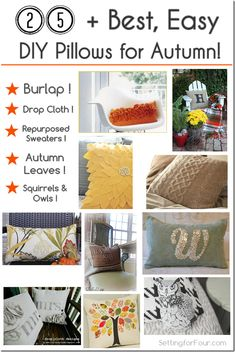 The Best, Easy DIY Pillows for Autumn – Home Decor Ideas Make your home fabulous with autumun home decor ideas! Add cozy pattern and texture with these gorgeous 25 + Best Easy DIY Pillows for Autumn Fall Crafts, Decor Crafts, Diy And Crafts, Crafts For Kids, Diy Projects To Try, Sewing Projects, Craft Projects, Craft Ideas, Diy Ideas