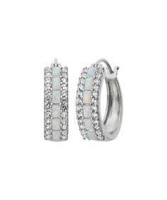 Look at this #zulilyfind! Opal & White Sapphire Hoop Earrings #zulilyfinds