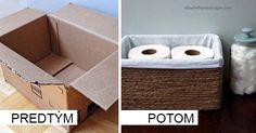 Kreatívny DIY nápad s návodom urob si sám ako nájsť krabici na vyhodenie iné využitie a tak ju upcyklovať. Premena krabice na úložný box je skvelým riešením